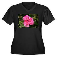 Rose, pink and white Women's Plus Size V-Neck Dark