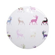 Pink deer pattern Ornament (Round)