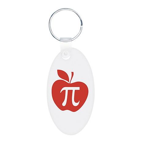 Red Apple Pi Math Humor Aluminum Oval Keychain