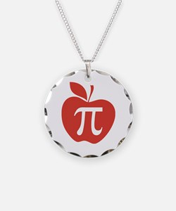 Red Apple Pi Math Humor Necklace