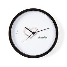 I heart Salukis Wall Clock