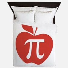 Red Apple Pi Math Humor Queen Duvet