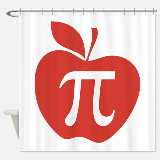 Red Apple Pi Math Humor Shower Curtain