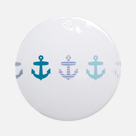 Blue anchors Ornament (Round)