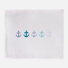 Blue anchors Throw Blanket
