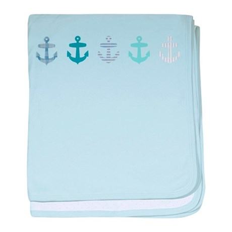 Blue anchors baby blanket