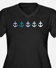 Blue anchors Women's Plus Size V-Neck Dark T-Shirt