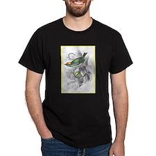 Gold Crest Bird (Front) Black T-Shirt