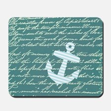 Turquoise Nautical anchor design Mousepad