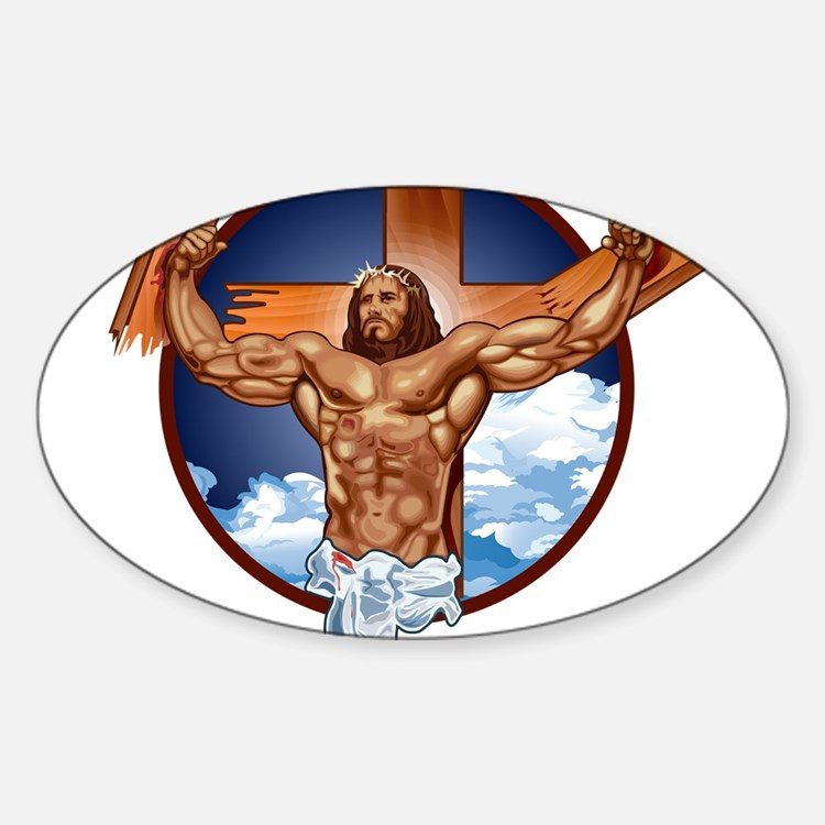 Strong Jesus Sticker (Oval)