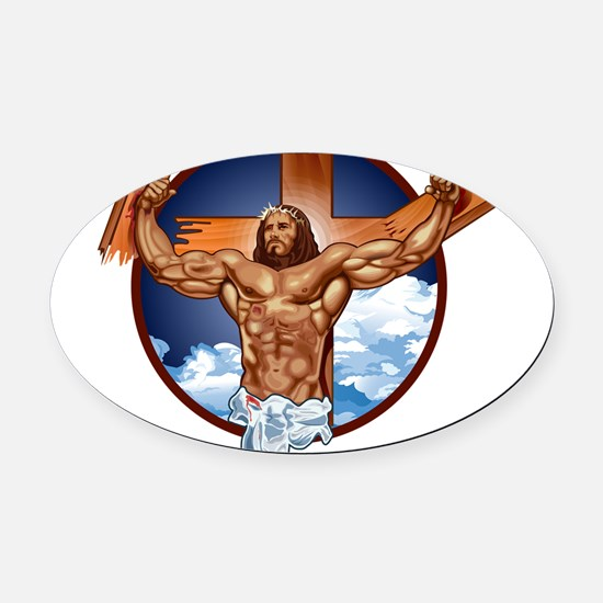 Strong Jesus Oval Car Magnet