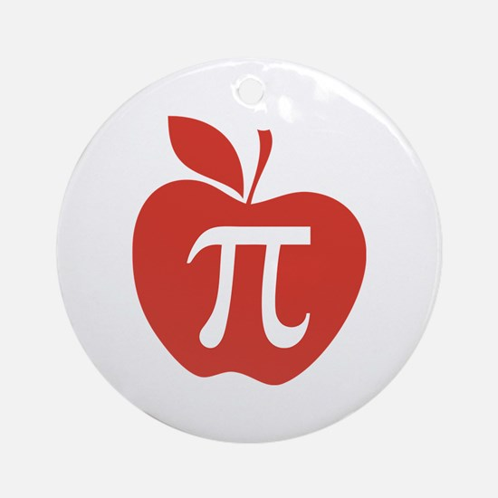 Red Apple Pi Math Humor Ornament (Round)