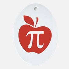Red Apple Pi Math Humor Ornament (Oval)