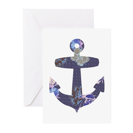 Floral anchor Greeting Cards (Pk of 20)