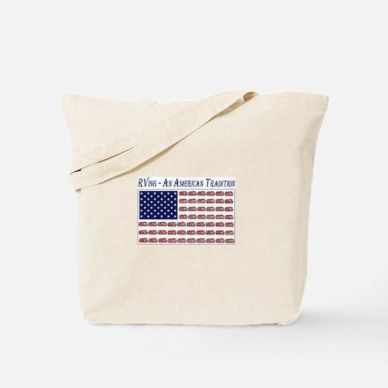 RV American Flag Tote Bag