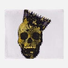 Yellow Skull and Crown Throw Blanket