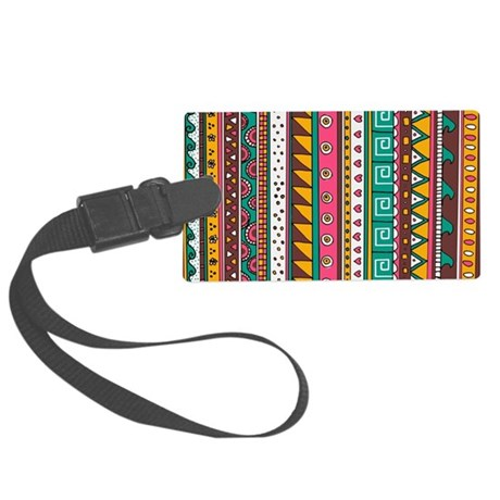 Colorful Tribal Pattern Large Luggage Tag