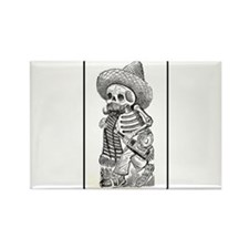 Calavera with Bottle Rectangle Magnet