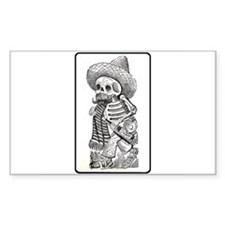 Calavera with Bottle Rectangle Decal
