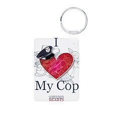 I Love My Cop Keychains