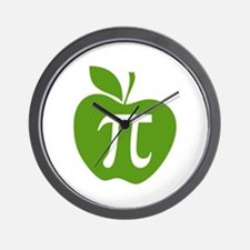 Green Apple Pi Math Humor Wall Clock