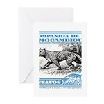1930's Mozambique Leopard Stamp Blue Greeting Card