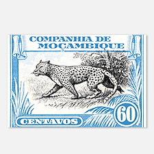 1930's Mozambique Leopard Stamp Blue Postcards (Pa