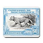1930's Mozambique Leopard Stamp Blue Mousepad
