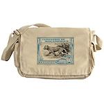 1930's Mozambique Leopard Stamp Blue Messenger Bag