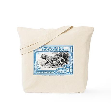 1930's Mozambique Leopard Stamp Blue Tote Bag
