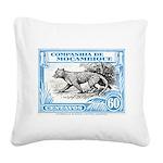 1930's Mozambique Leopard Stamp Blue Square Canvas