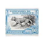 1930's Mozambique Leopard Stamp Blue Stadium Blan