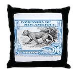 1930's Mozambique Leopard Stamp Blue Throw Pillow