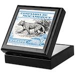 1930's Mozambique Leopard Stamp Blue Keepsake Box