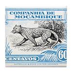 1930's Mozambique Leopard Stamp Blue Tile Coaster