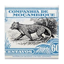 1930's Mozambique Leopard Stamp Blue Tile Coaster