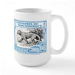 1930's Mozambique Leopard Stamp Blue Large Mug