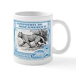 1930's Mozambique Leopard Stamp Blue Mug