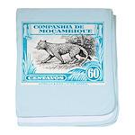 1930's Mozambique Leopard Stamp Blue baby blanket