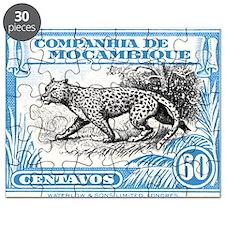 1930's Mozambique Leopard Stamp Blue Puzzle