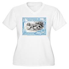 1930's Mozambique Leopard Stamp Blue T-Shirt