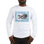1930's Mozambique Leopard Stamp Blue Long Sleeve T