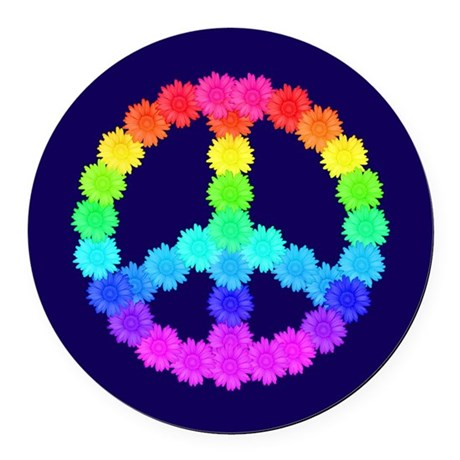 Rainbow Flower Peace Sign Round Car Magnet