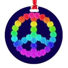 Rainbow Flower Peace Sign Ornament