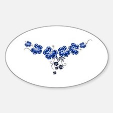 Hibiscus blue Oval Decal
