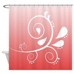 Pink and White Floral Design Shower Curtain