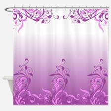 Purple Floral Design Shower Curtain