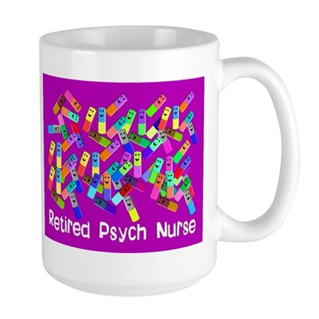 Retired Psych Nurse FUSCHIA LARGE.PNG Large Mug