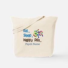 Eat Sleep Happy Pills blue brown LARGE.PNG Tote Ba