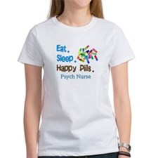 Eat Sleep Happy Pills blue brown LARGE.PNG Tee